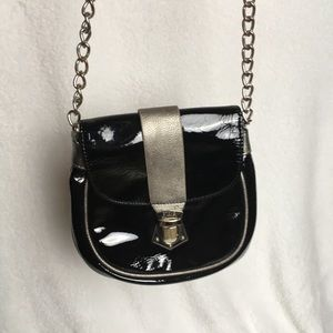 Steve Madden Black Glossy Pu Crossbody Bag